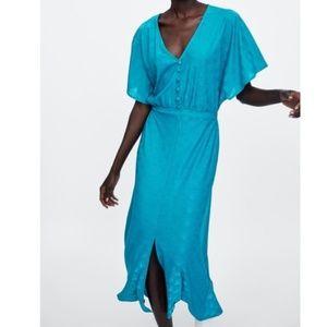 ZARA JACQUARD DRESS WITH BUTTONS Size M New